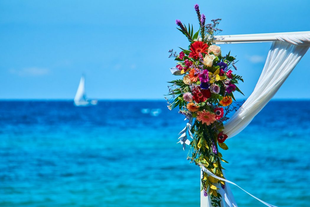wedding in Zakynthos at vardiola restaurant - wedding arch