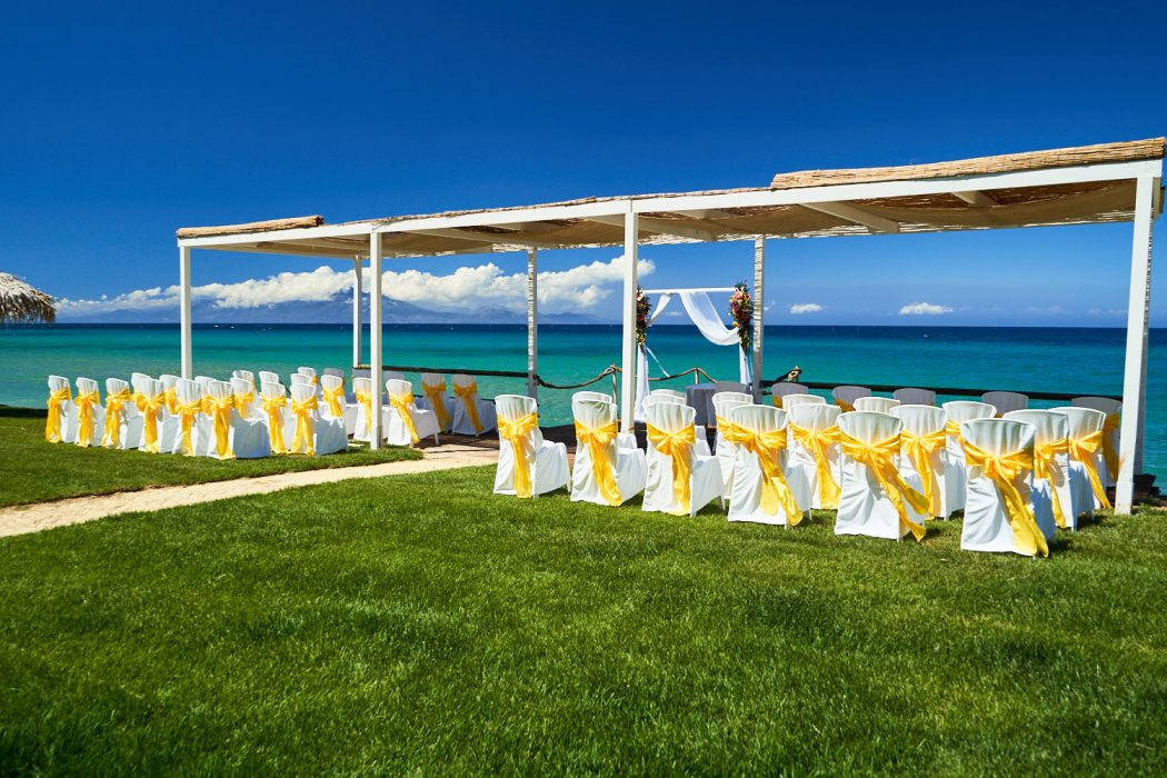 wedding in Zakynthos at vardiola restaurant - ceremony area