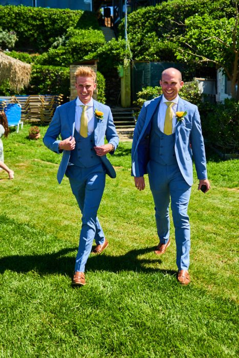 wedding in Zakynthos at vardiola restaurant - groom and best man